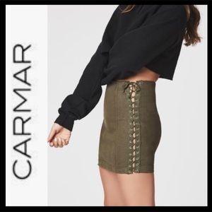 Carmar Imogen Denim Olive Lace-Up Skirt 28 EUC